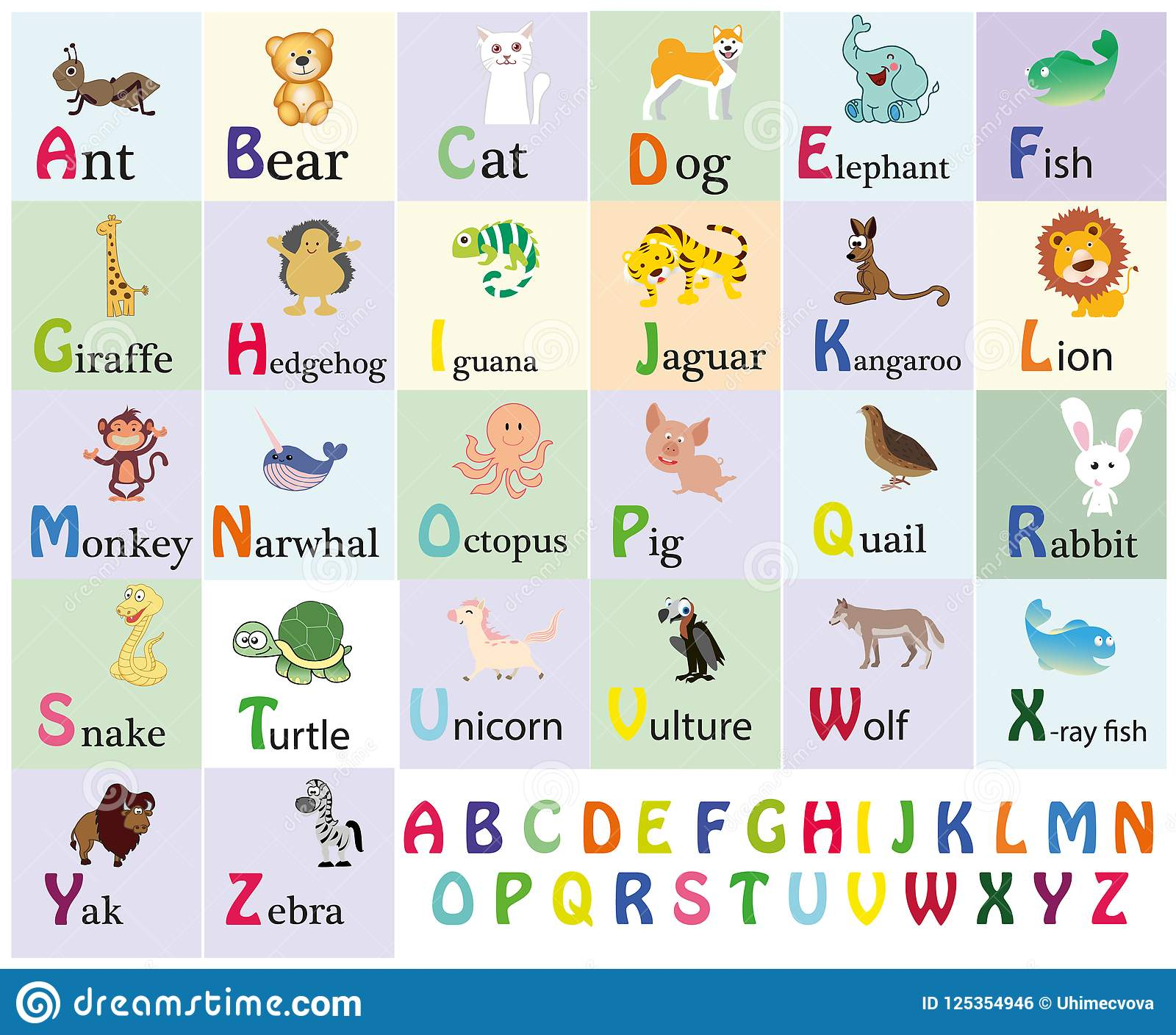 Zoo Alphabet Animal Alphabet Letters From A To Z Cartoon Cute