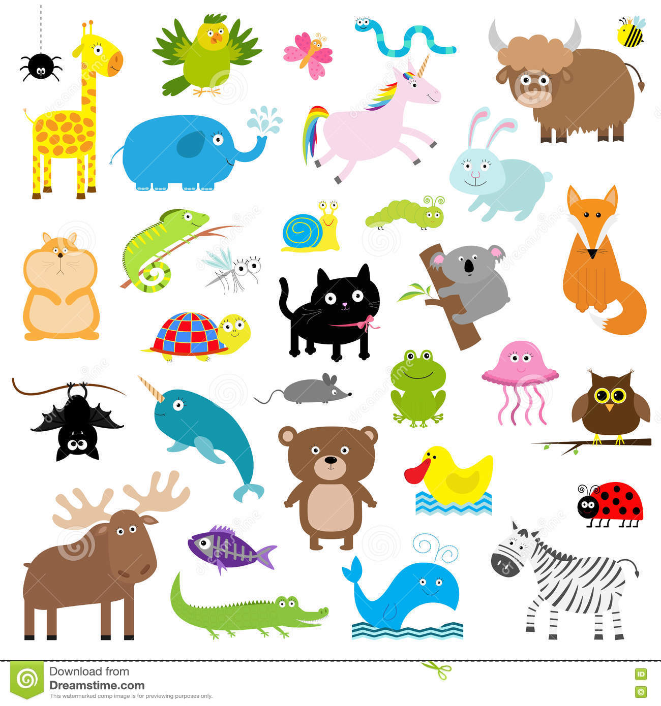 Cartoon Forest Animal Characters. Wild Cartoon Animals Collections ...