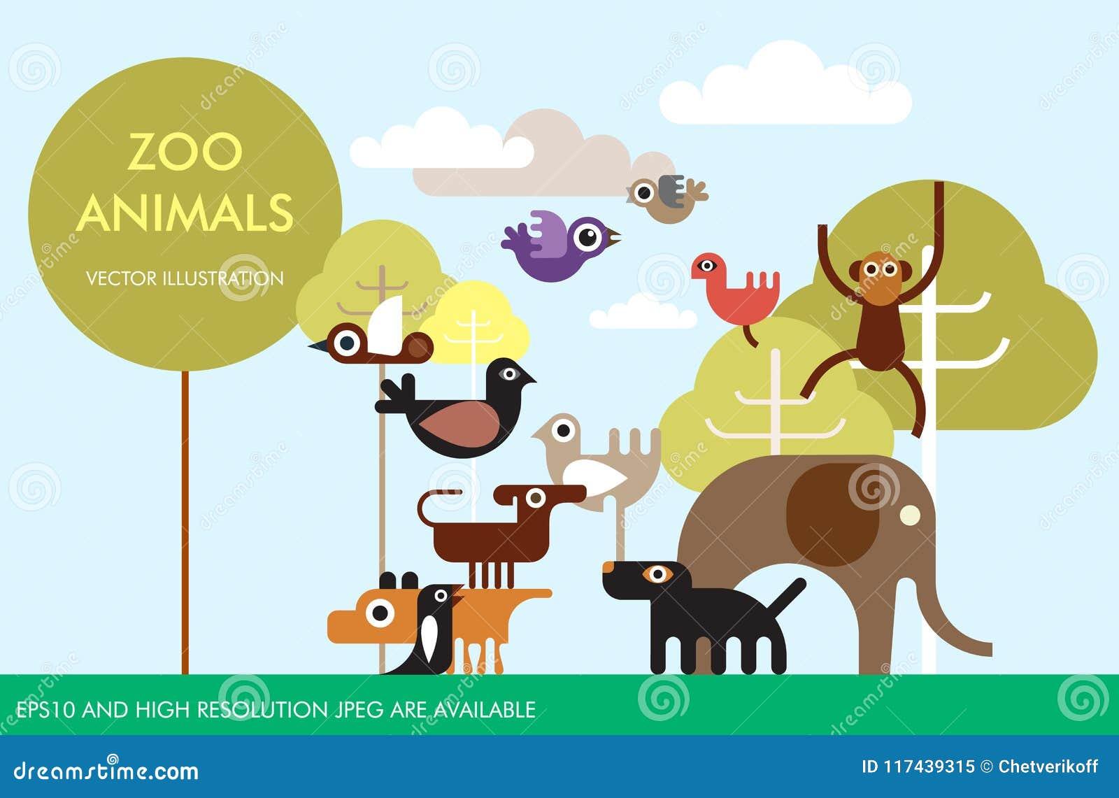 zoo animals vector template design stock vector illustration of