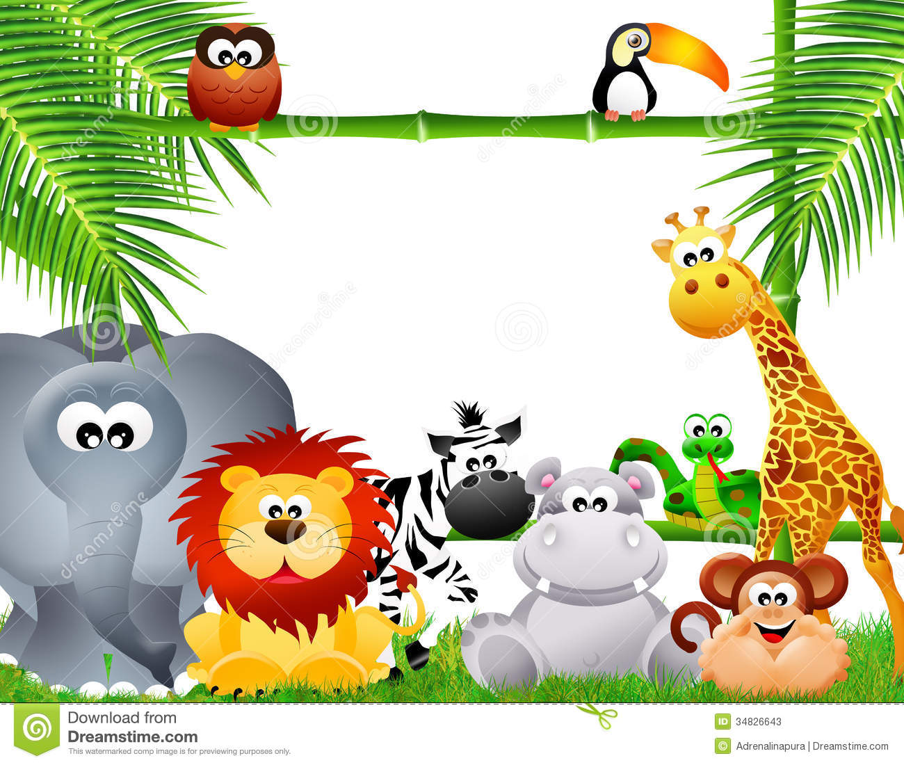 Wild Animal Or Zoo Animal Group With Nature Elements On White Background:  Zoo Animals Cartoon Stock Photos