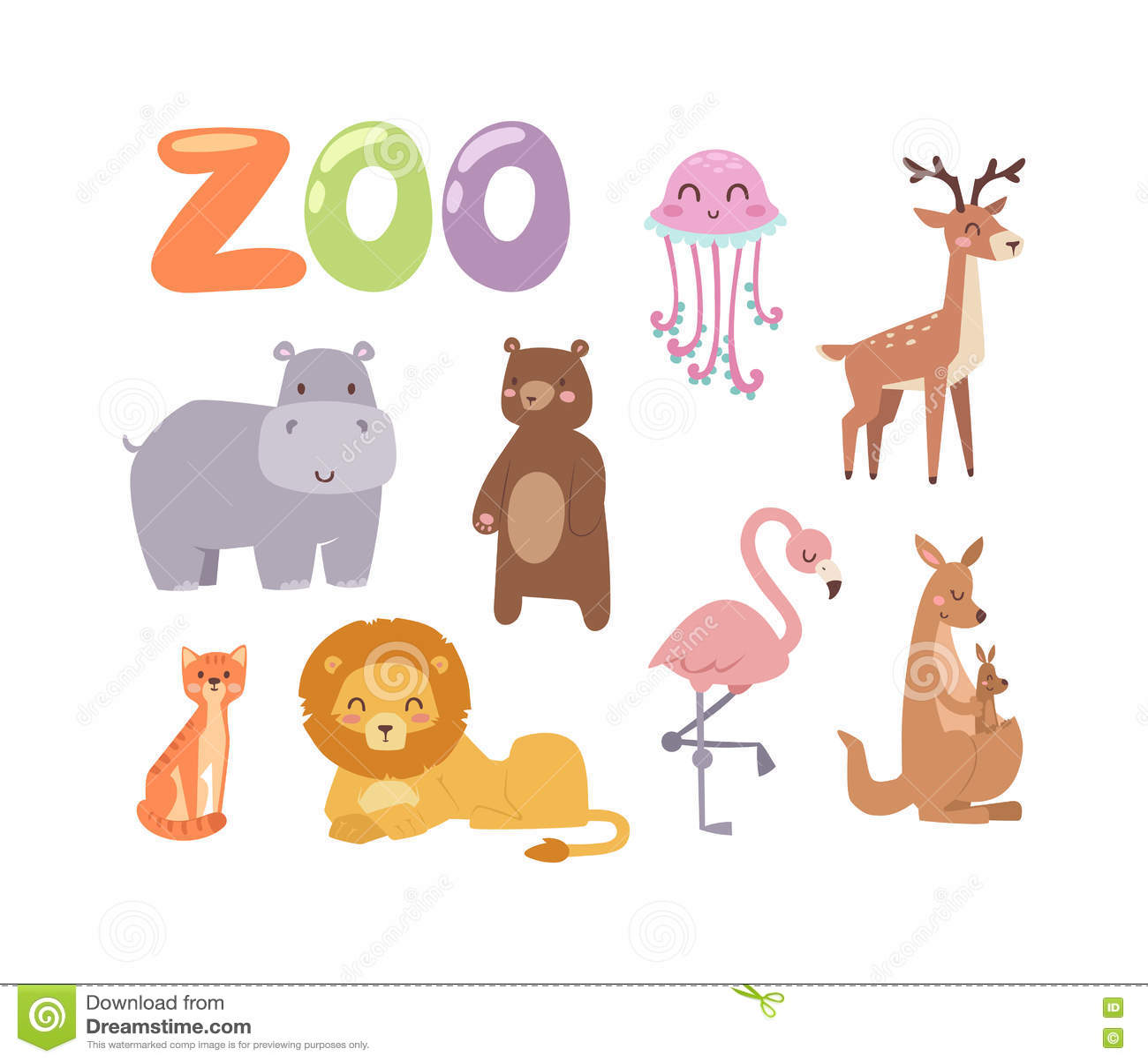 Zoo animals vector set. stock vector. Illustration of furry - 73415289