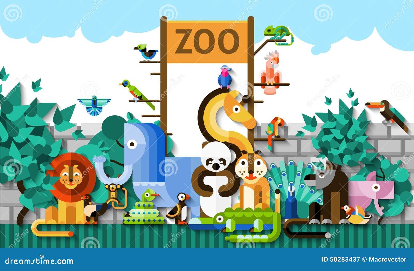 Zoo Background Illustration Cartoon Vector | CartoonDealer ...