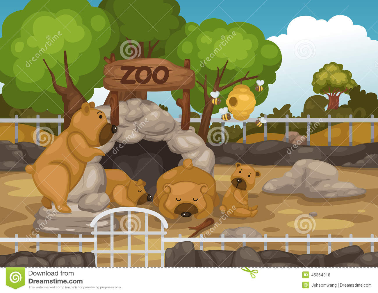 Zoo And Bear Vector Stock Vector Image 45364318