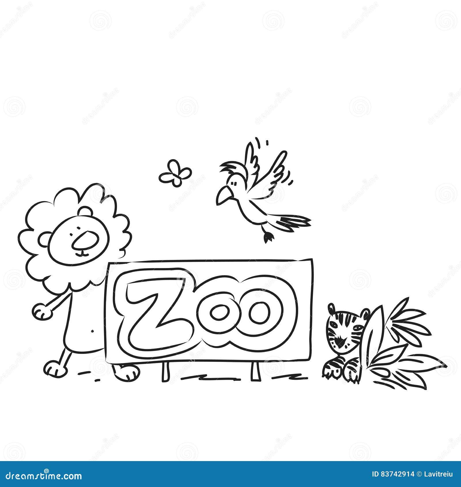 Line Drawing Zoo : Zoo cartoon animals stock vector image