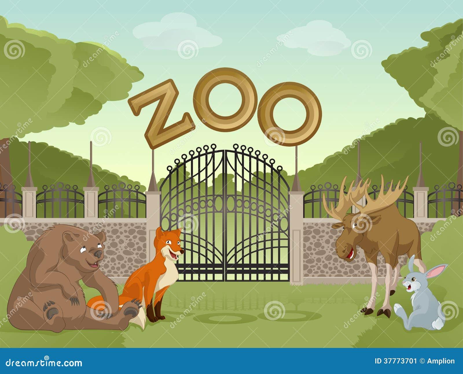 Zoo With Cartoon Animals Stock Vector Illustration Of