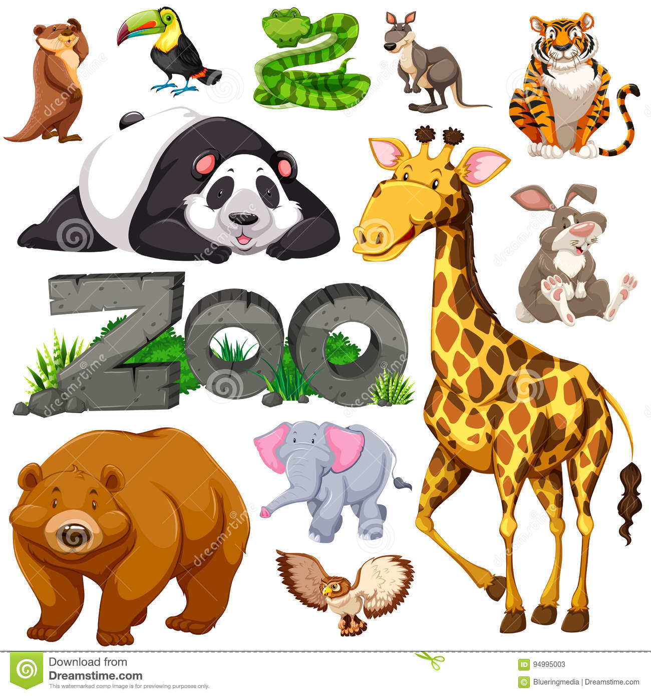 Zoo And Different Types Of Wild Animals Stock Vector ...
