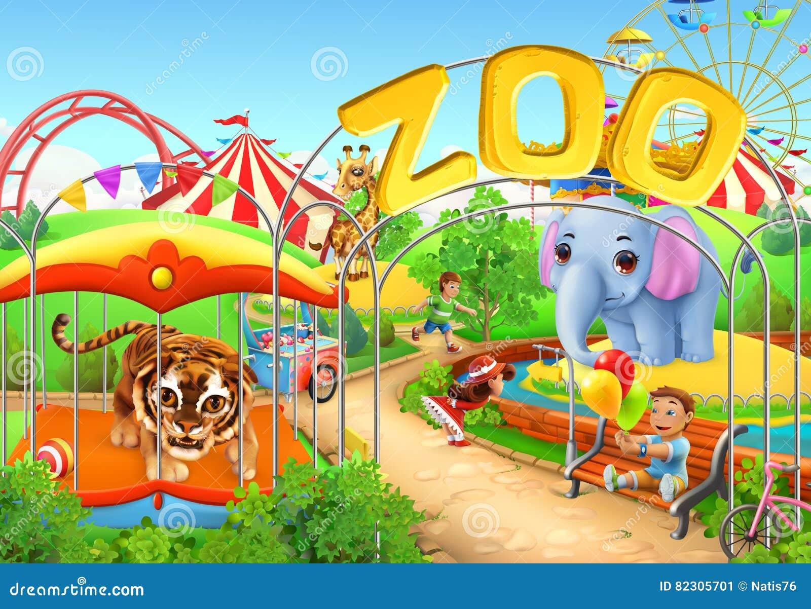 Zoo Embroma el patio Parque de atracciones Ilustración del vector