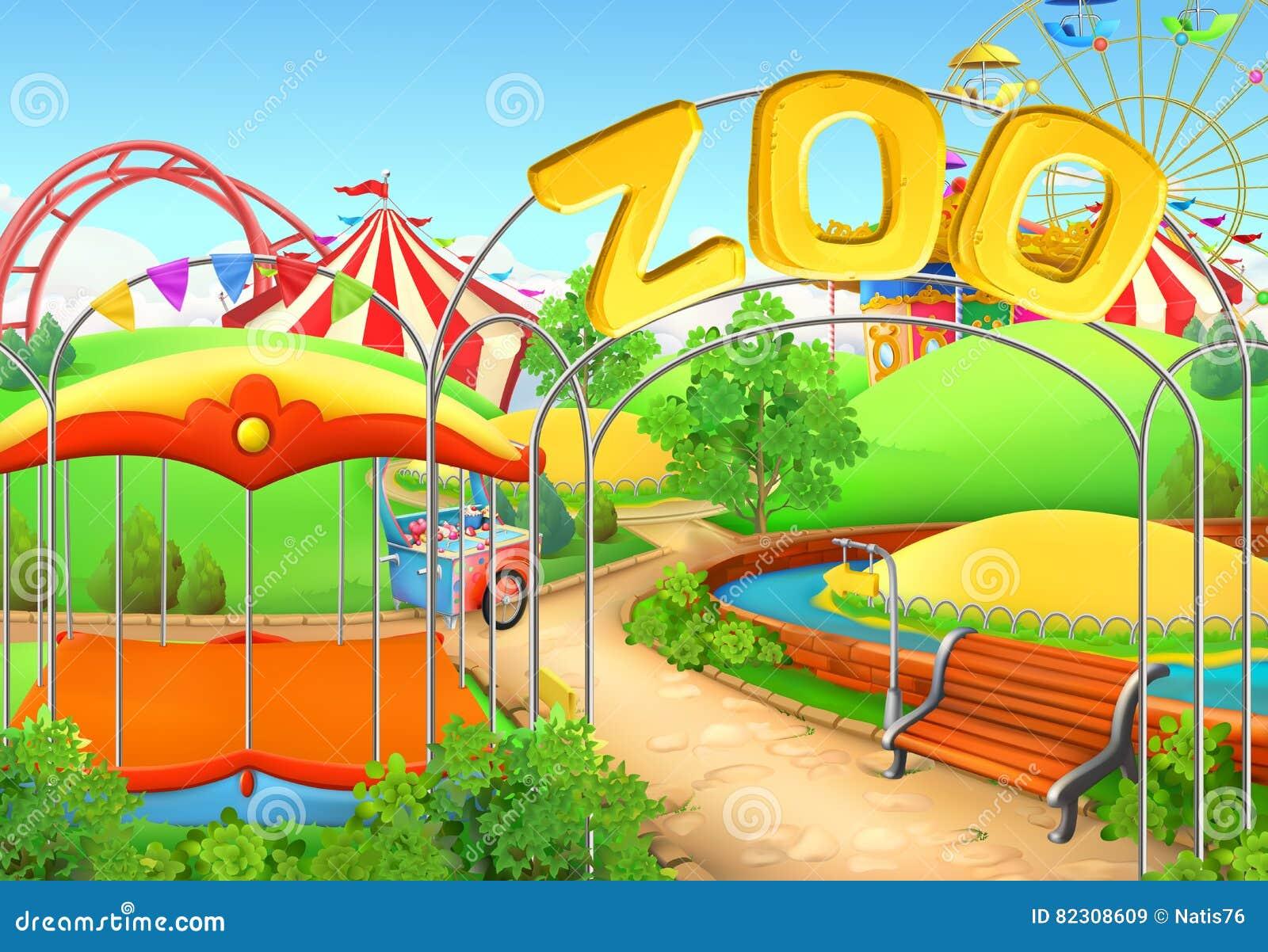 Zoo, fond de vecteur Parc d attractions