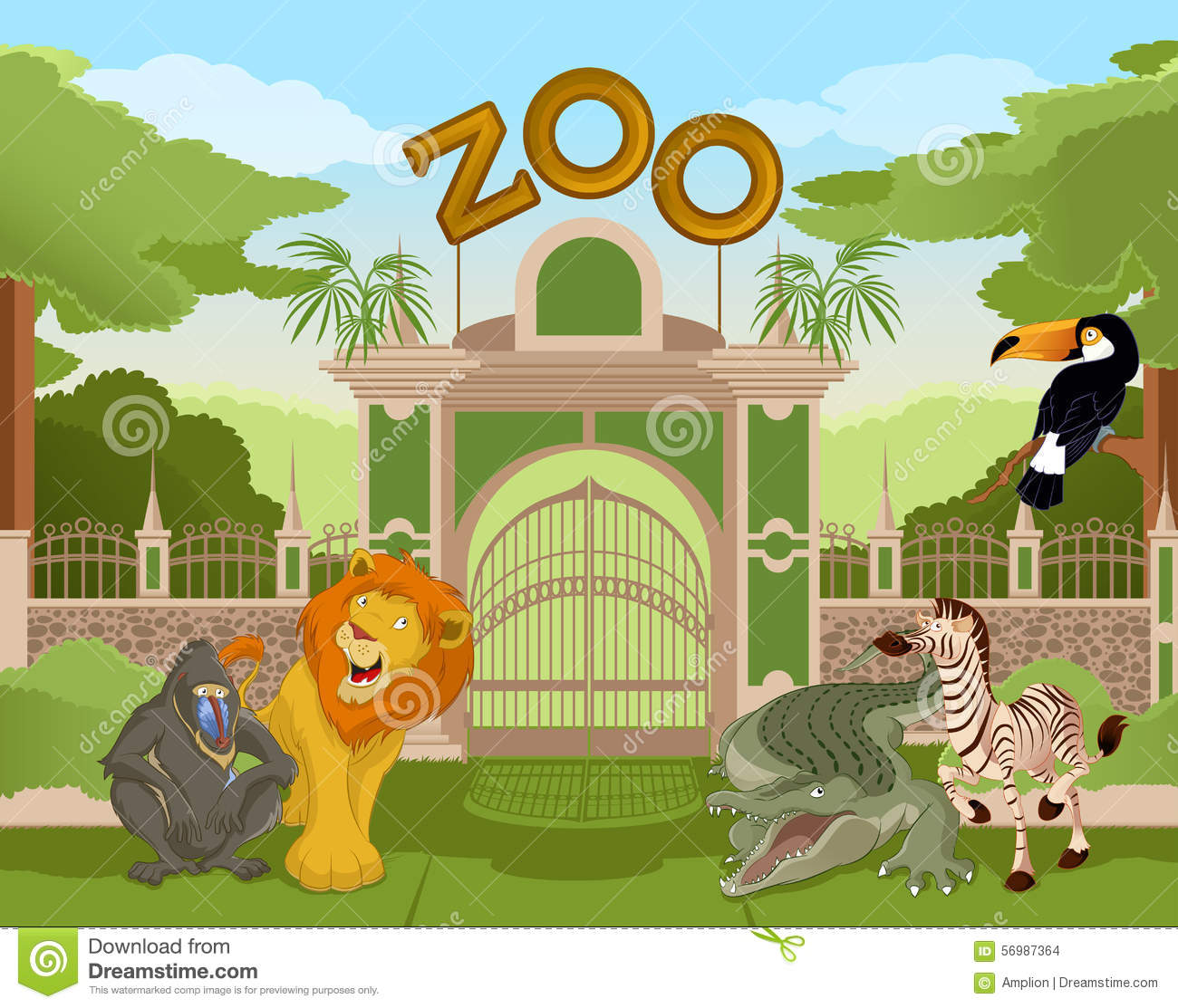 Garden gate plans - Zoo Gate With African Animals 2 Stock Vector Image 56987364