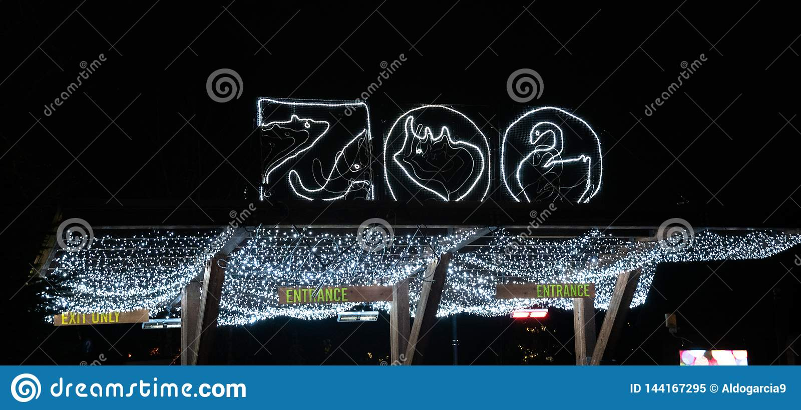 Zoo light based entrance sign