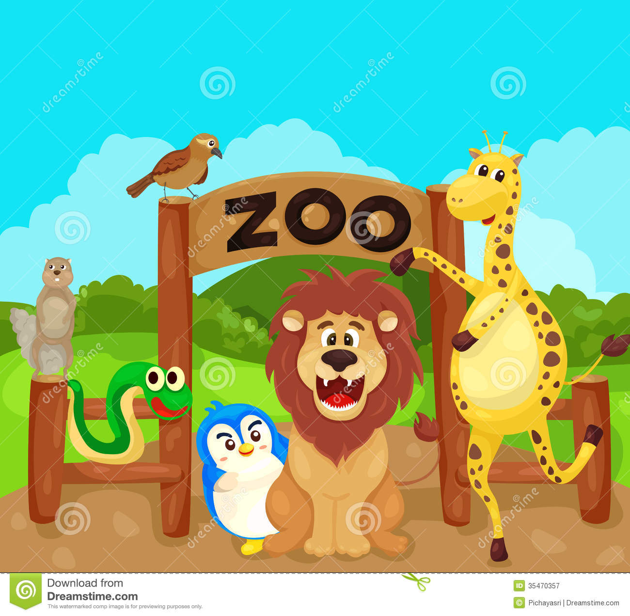 Cartoon Safari Animals Sign Cartoon Vector | CartoonDealer ...