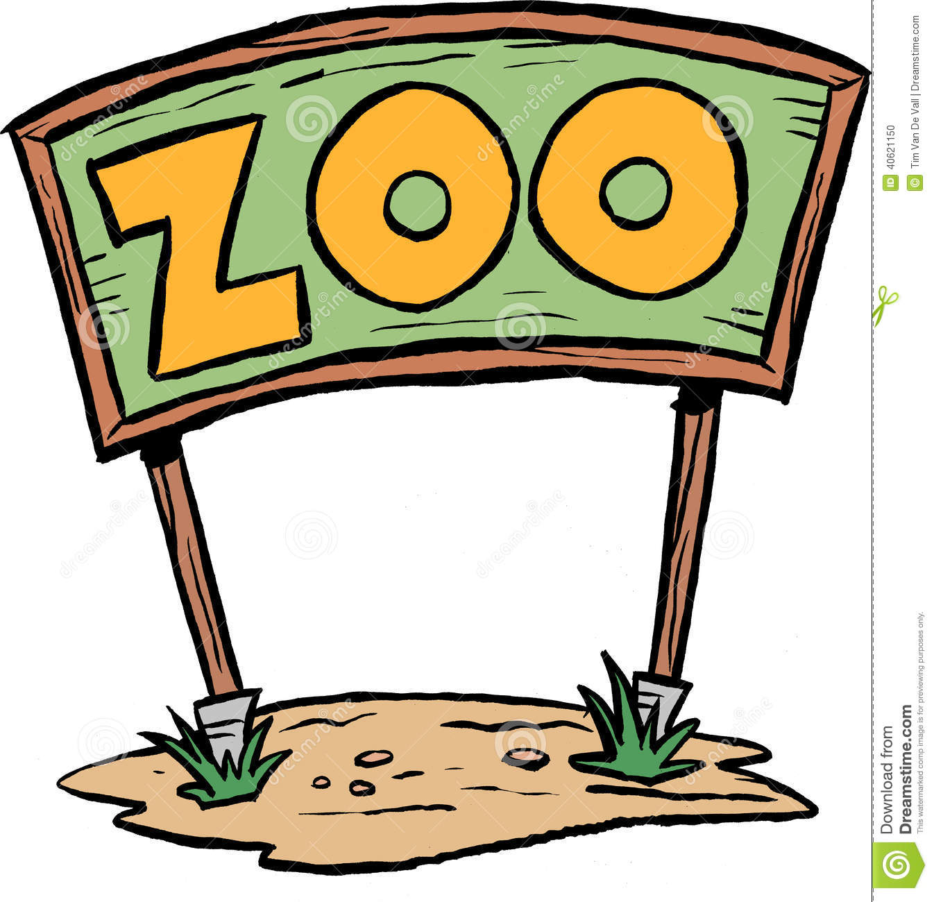 large zoo sign or billboard. Cartoon clip art image.