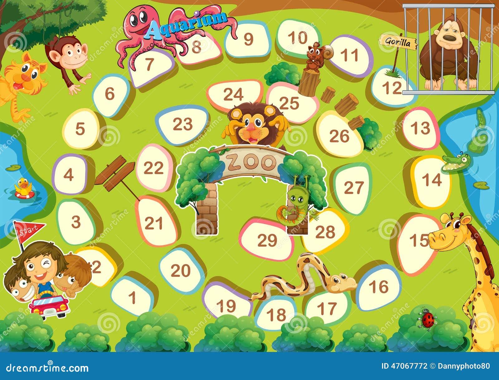 Zoo Theme Boardgame Stock Vector - Image: 47067772