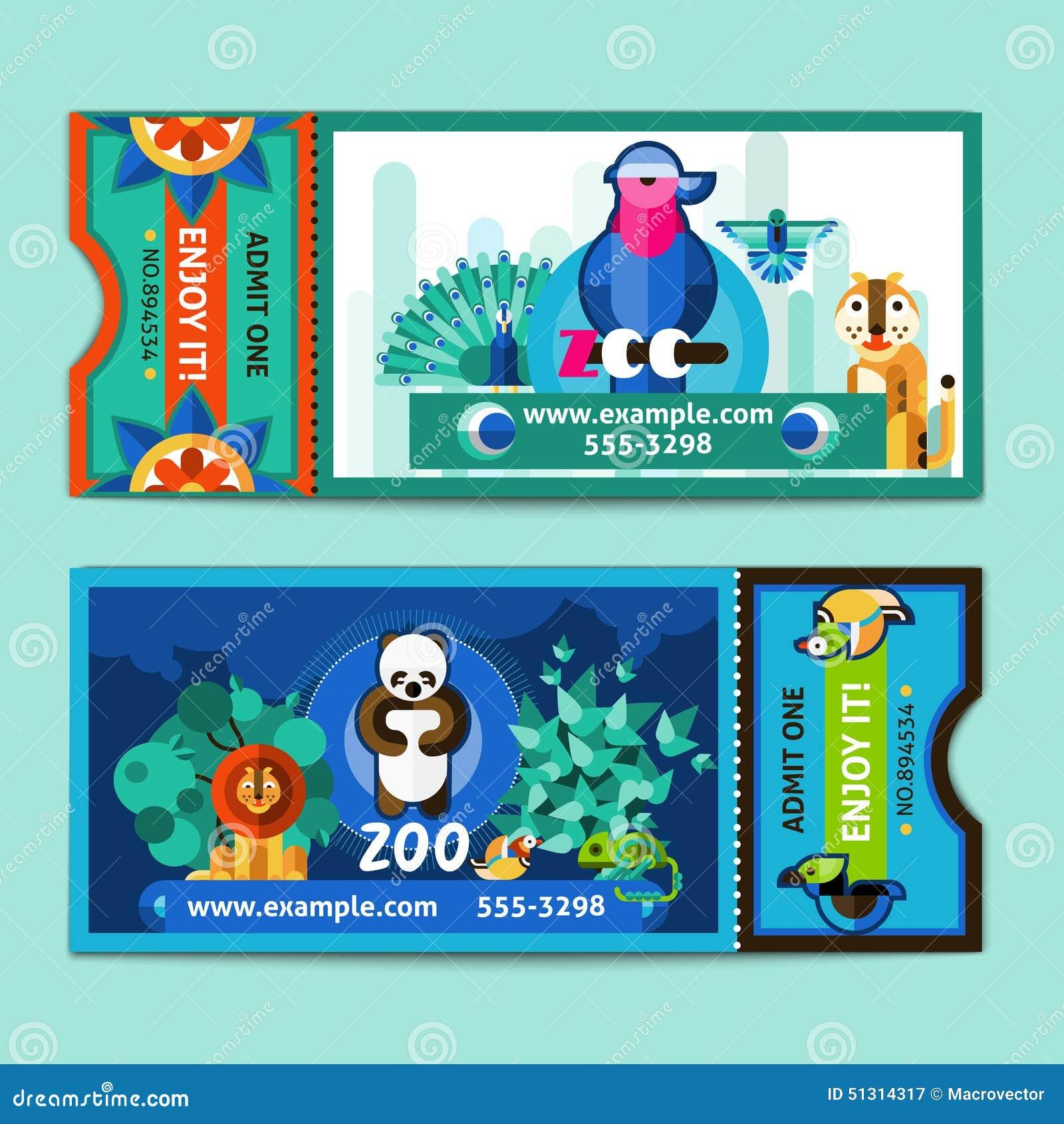 zoo tickets set stock vector