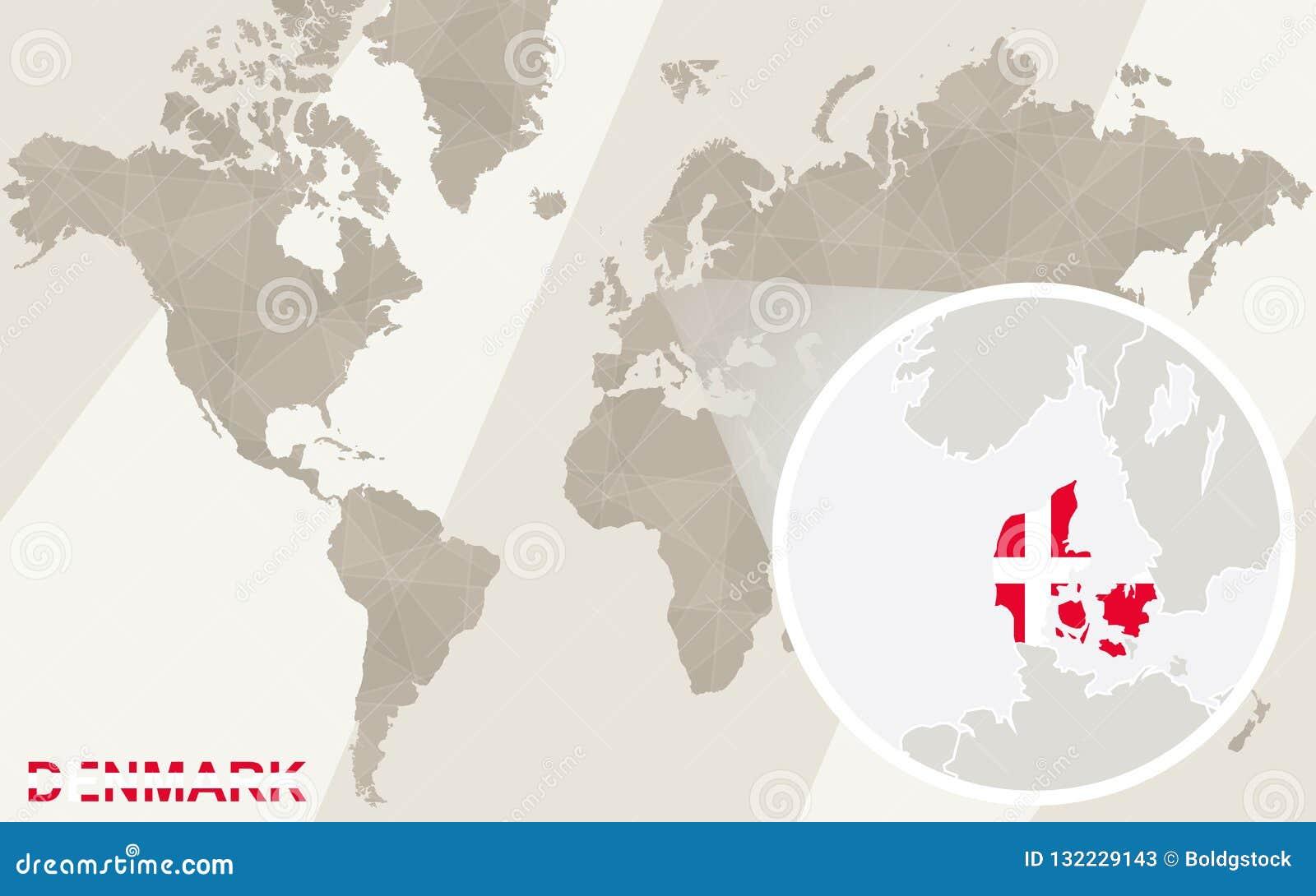 Zoom On Denmark Map And Flag. World Map Stock Vector - Illustration Denmark On World Map on