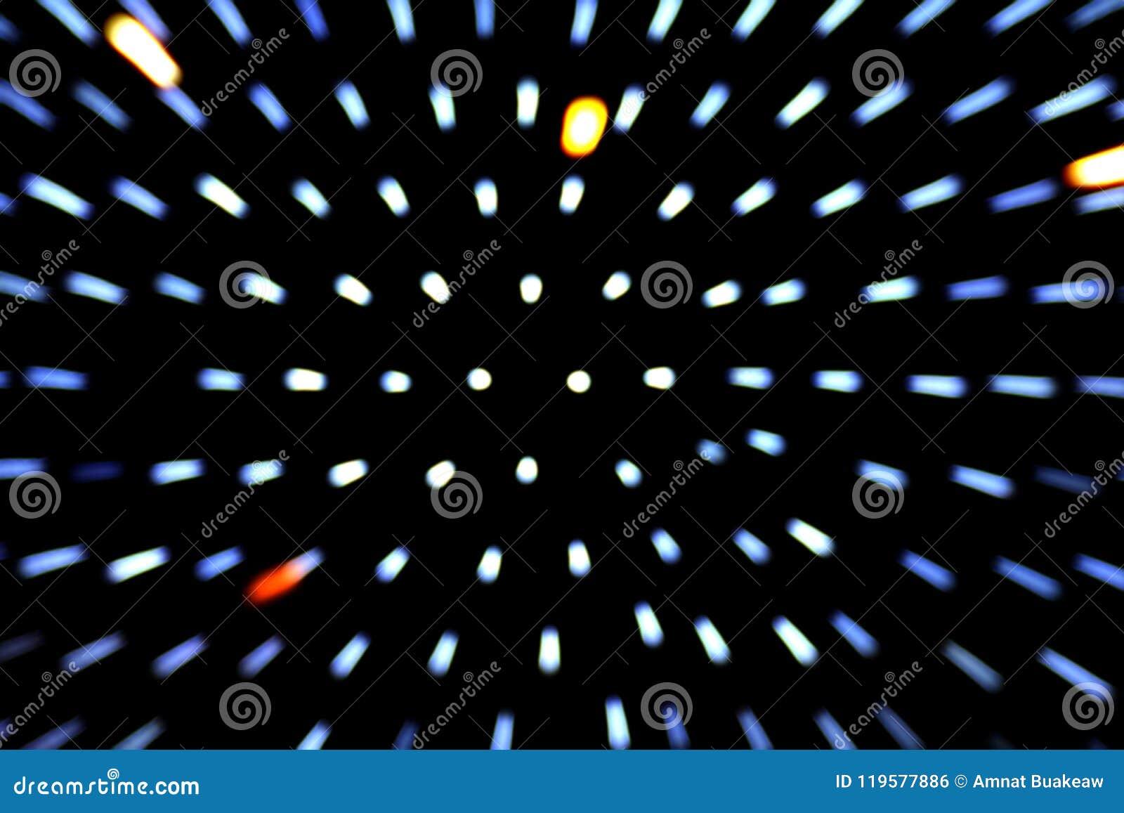 Zoom effect beam lighting bokeh movement blurred on dark black background