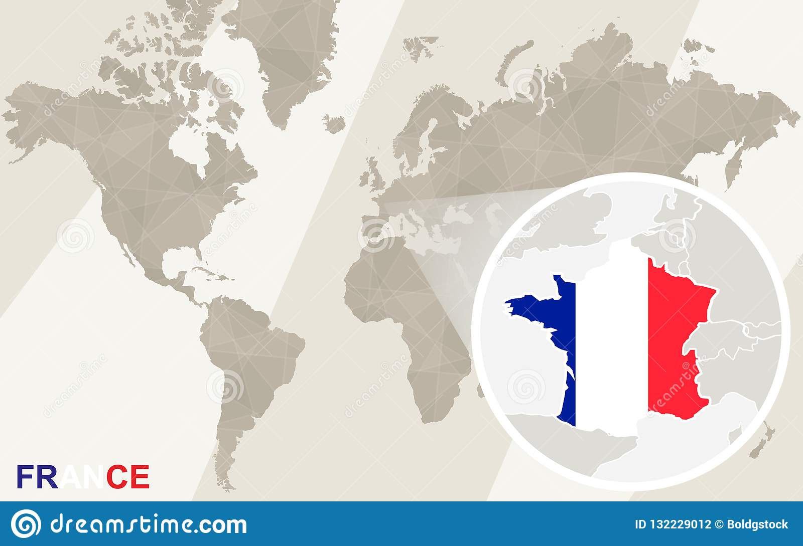 Zoom On France Map And Flag World Map Stock Vector Illustration Of Location Europe 132229012