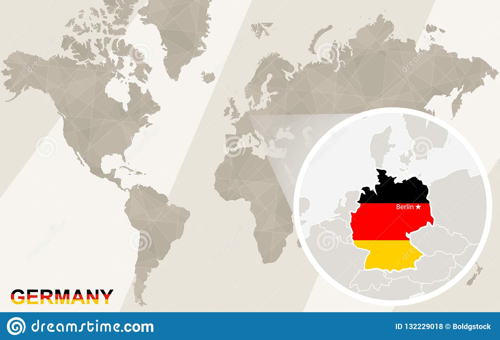 Zoom On Germany Map And Flag. World Map Stock Vector ...