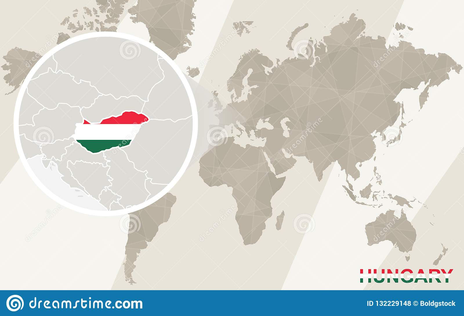 Zoom On Hungary Map And Flag World Map Stock Vector Illustration