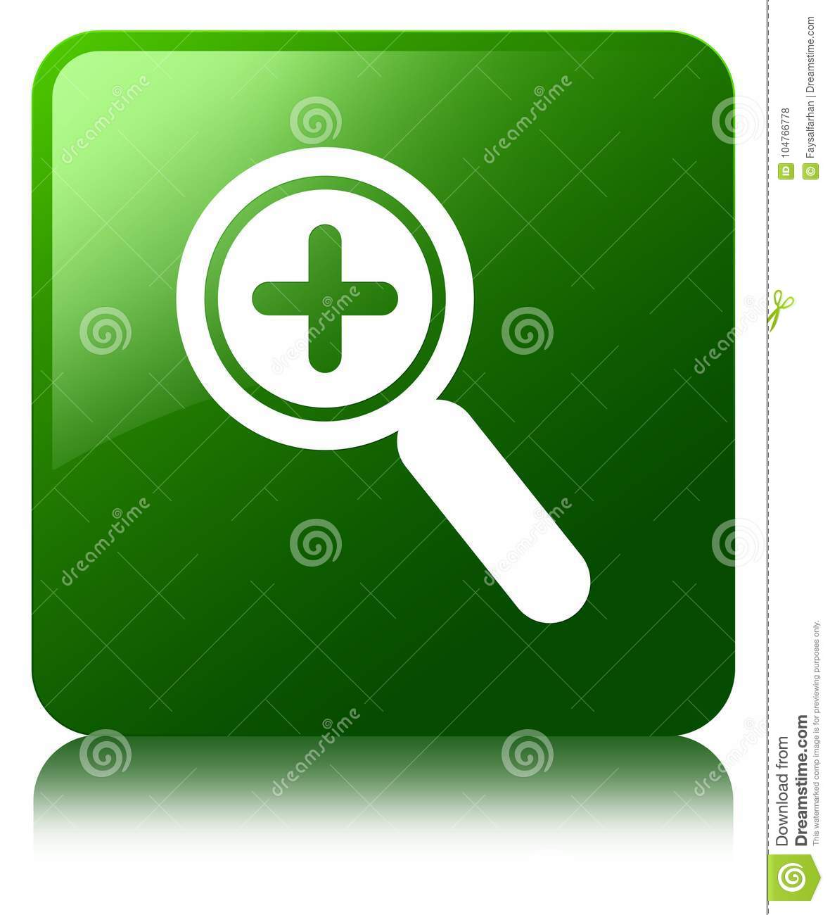 Zoom In Icon Green Square Button Stock Illustration