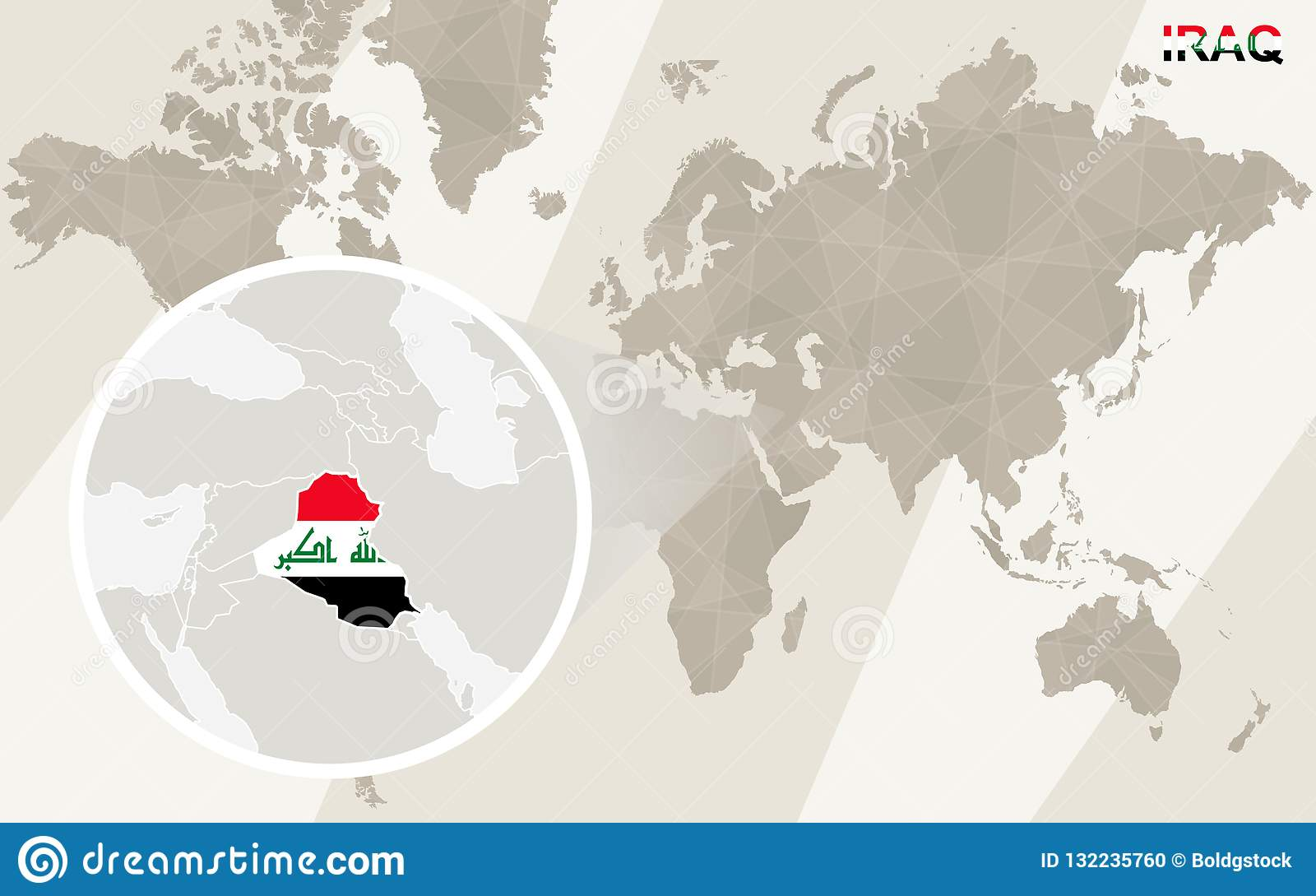 Zoom On Iraq Map And Flag. World Map Stock Vector ...