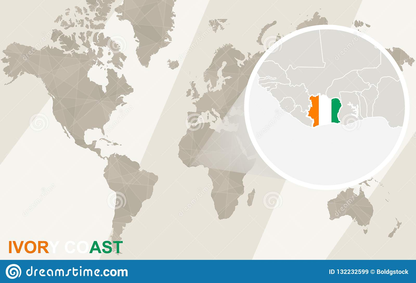 Zoom On Ivory Coast Map And Flag. World Map Stock Vector ...