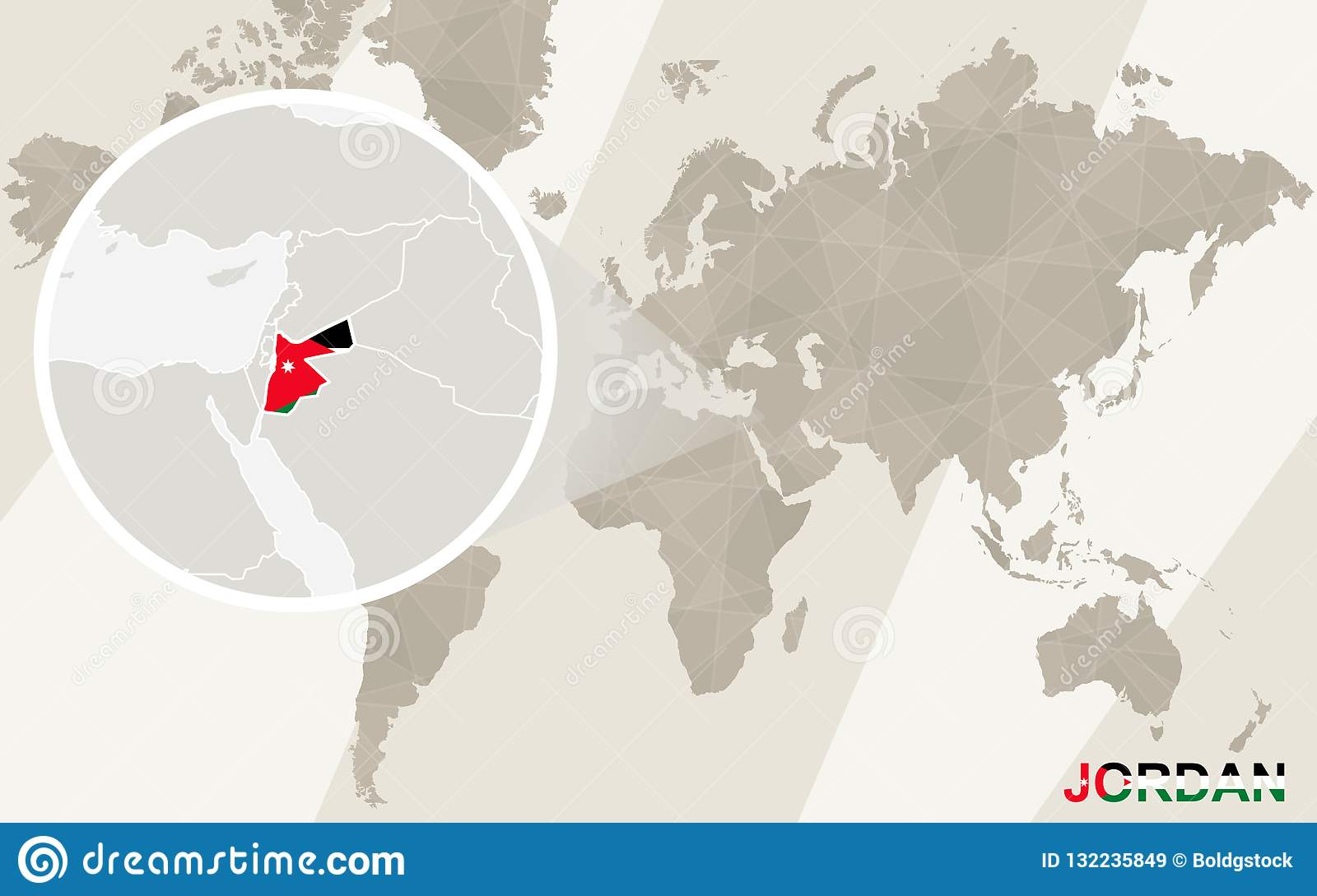 Zoom On Jordan Map And Flag. World Map Stock Vector ...