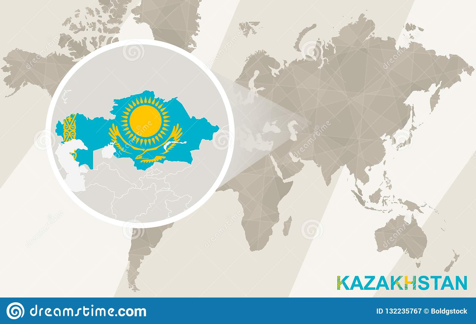 Zoom On Kazakhstan Map And Flag World Map Stock Vector