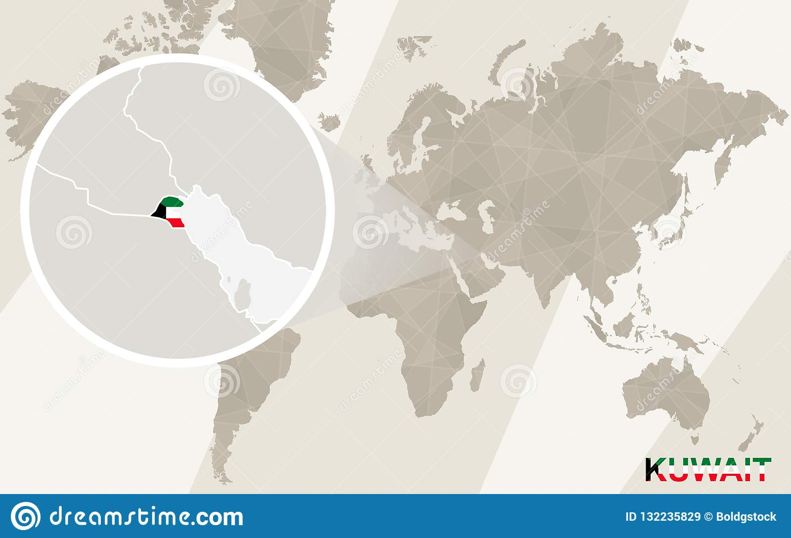 Zoom On Kuwait Map And Flag. World Map Stock Vector - Illustration ...