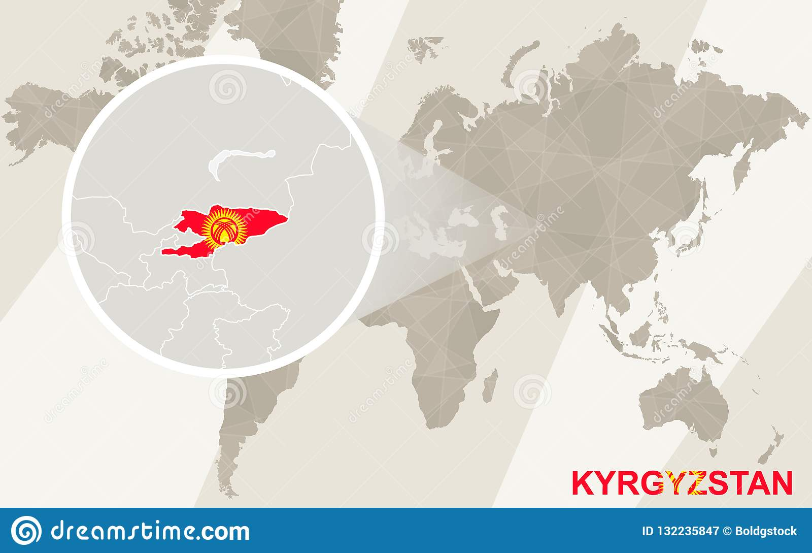 Zoom On Kyrgyzstan Map And Flag. World Map Stock Vector ... Zoomable Map Of Asia on large map of asia, google map of asia, political features of asia, pdf map of asia, physiographic map of asia, spanish map of asia, zoom map of asia, interactive map of asia,