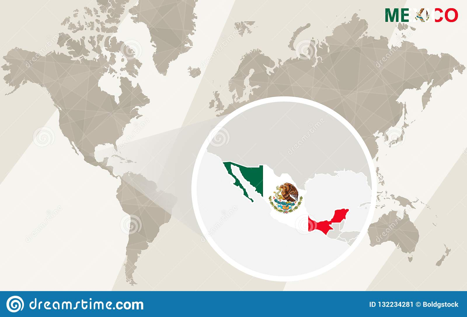 Zoom On Mexico Map And Flag. World Map Stock Vector ...