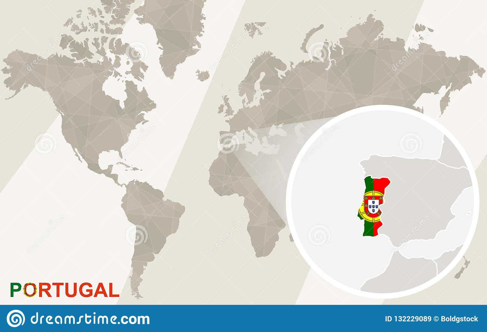 Zoom On Portugal Map And Flag. World Map Stock Vector - Illustration ...