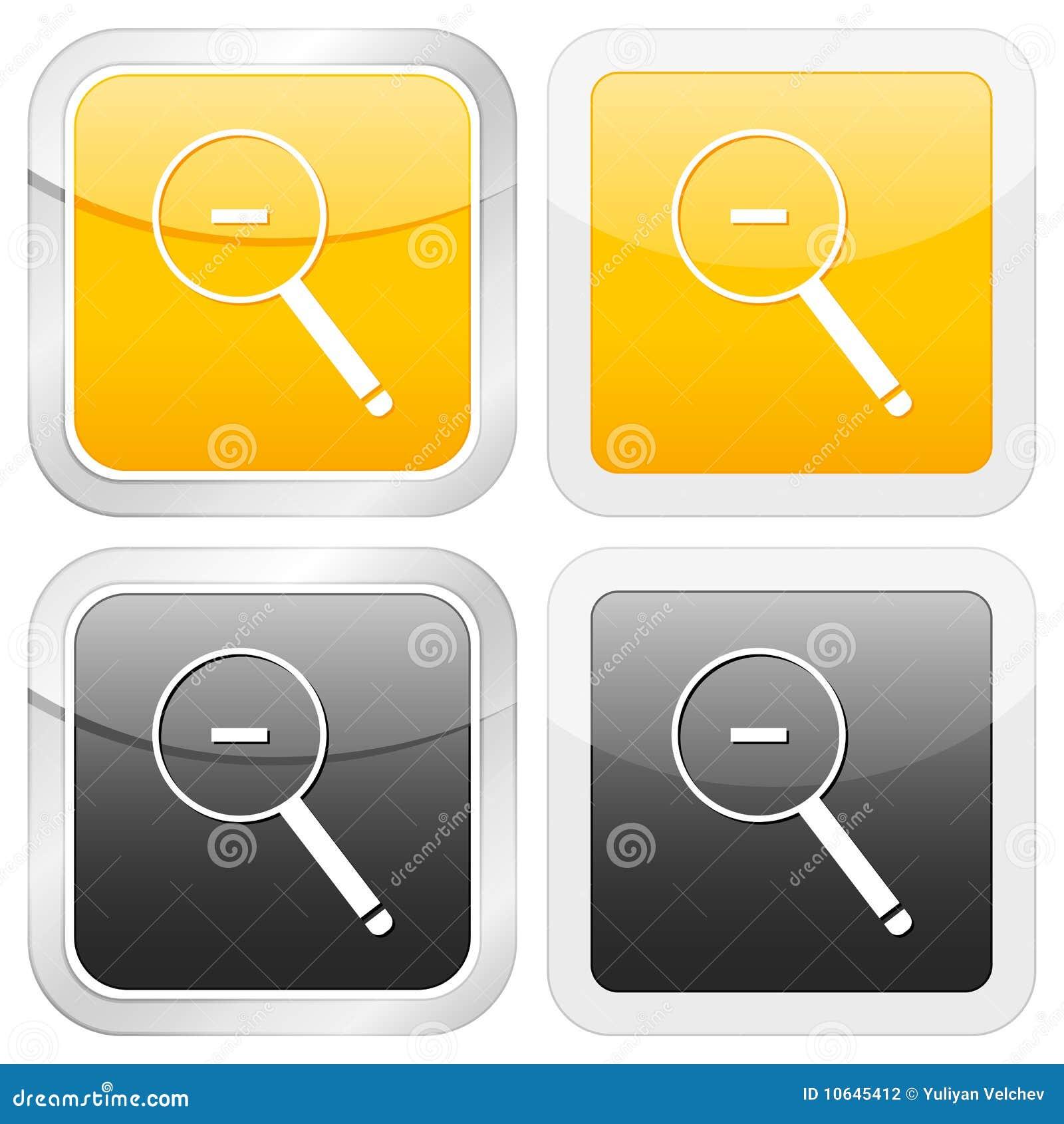 Zoom quadrado do ícone para fora