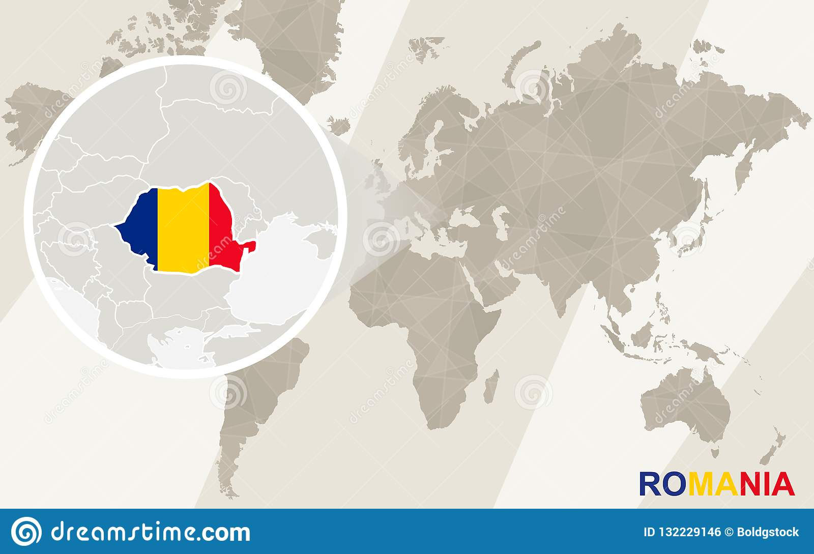 Image of: Zoom On Romania Map And Flag World Map Stock Vector Illustration Of National Round 132229146