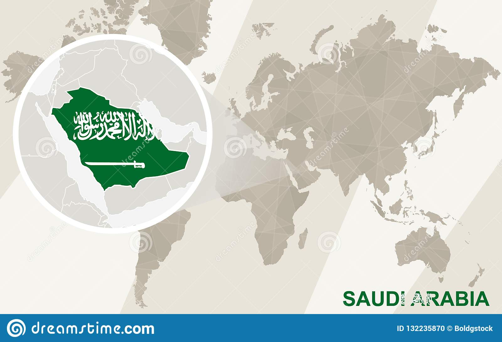 Zoom On Saudi Arabia Map And Flag World Map Stock Vector