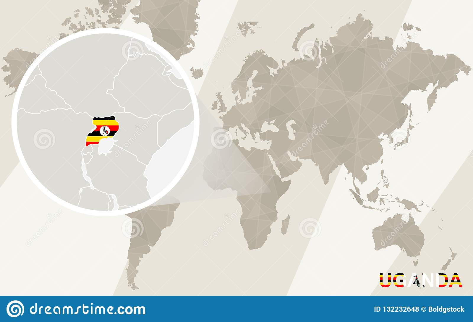 Zoom On Uganda Map And Flag. World Map Stock Vector - Illustration ...
