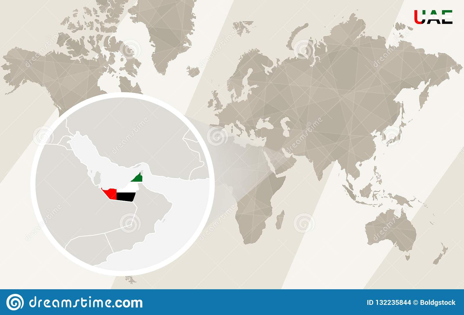 Zoom On United Arab Emirates Map And Flag. World Map Stock Vector ...