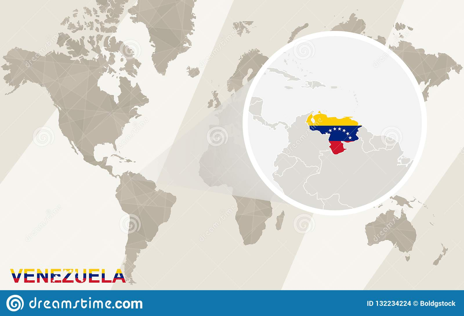 Zoom On Venezuela Map And Flag. World Map Stock Vector ...