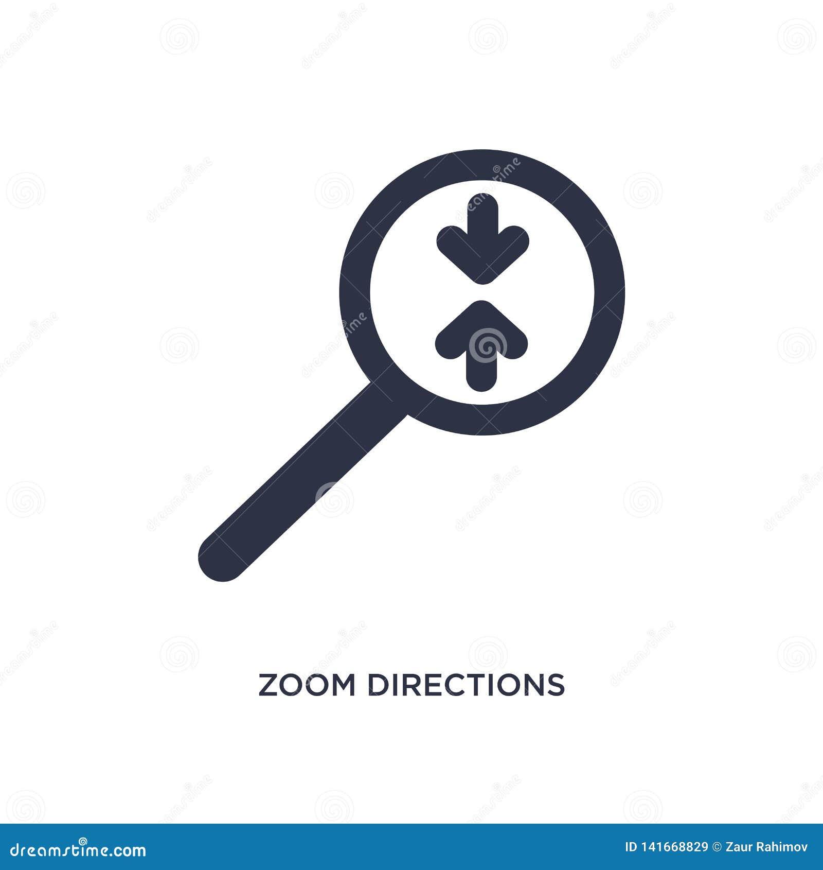 Zoomriktningssymbol på vit bakgrund Enkel beståndsdelillustration från pilbegrepp