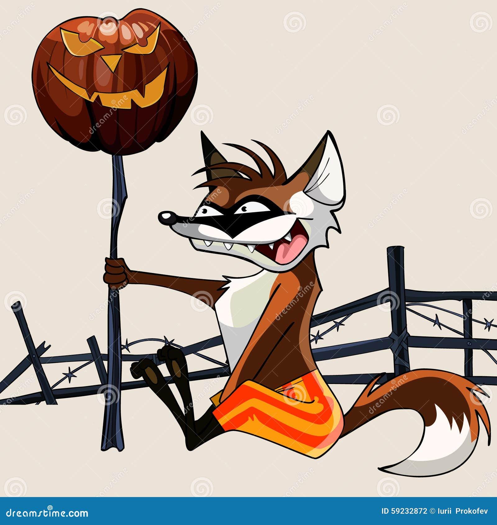 Zorro divertido de la historieta que sostiene una calabaza de Halloween en un palillo