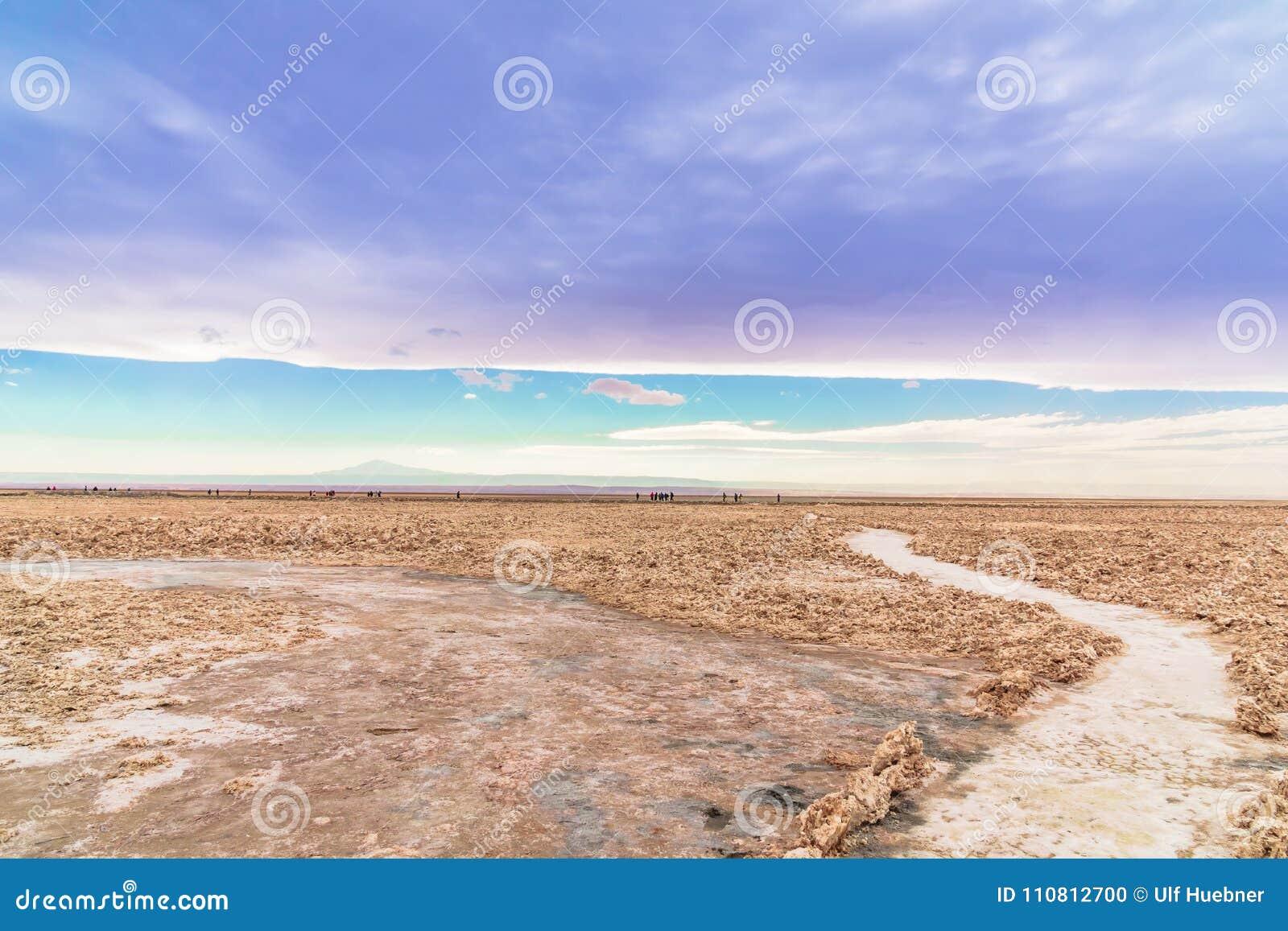 Zout landschap door lagune Cejar in de woestijn van Atacama - Chili