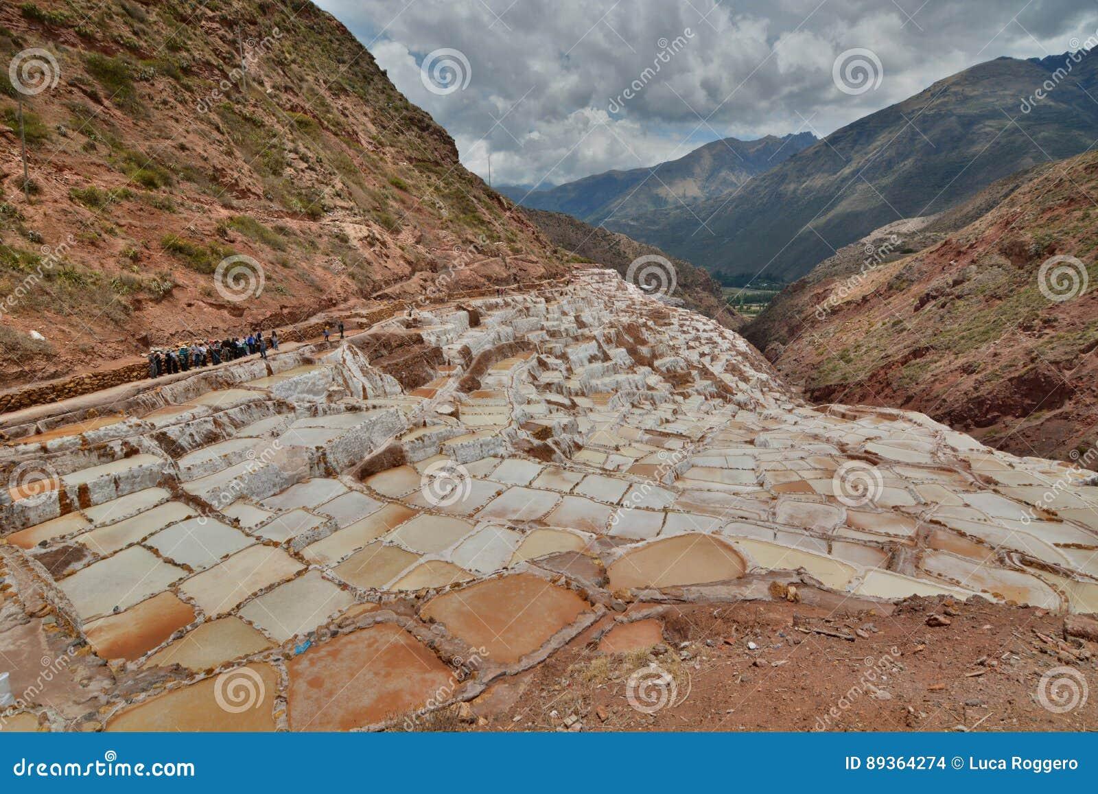Zoute verdampingsvijvers Maras Heilige Vallei Cuscogebied peru