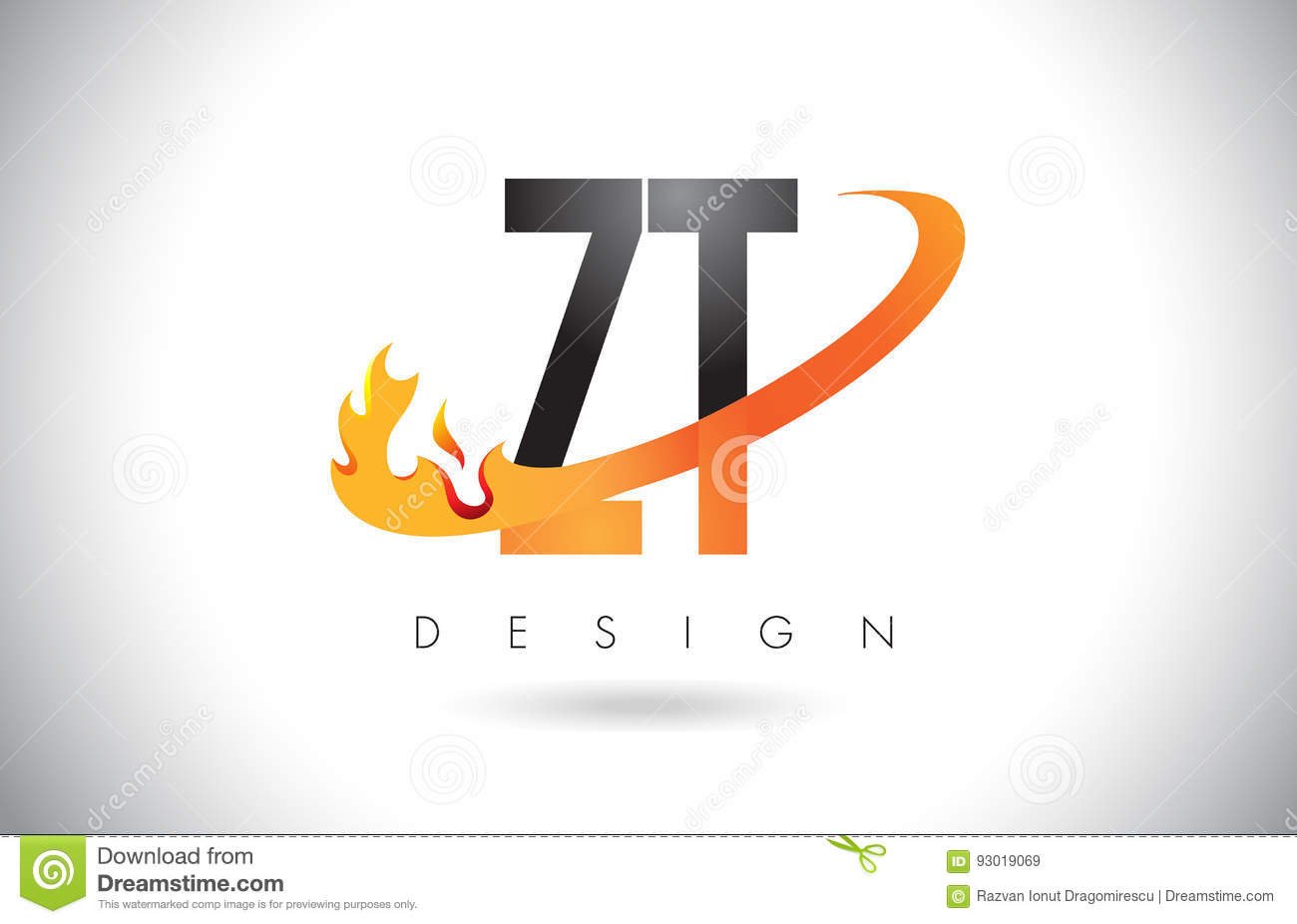 ZT Z T Letter Logo With Fire Flames Design And Orange Swoosh