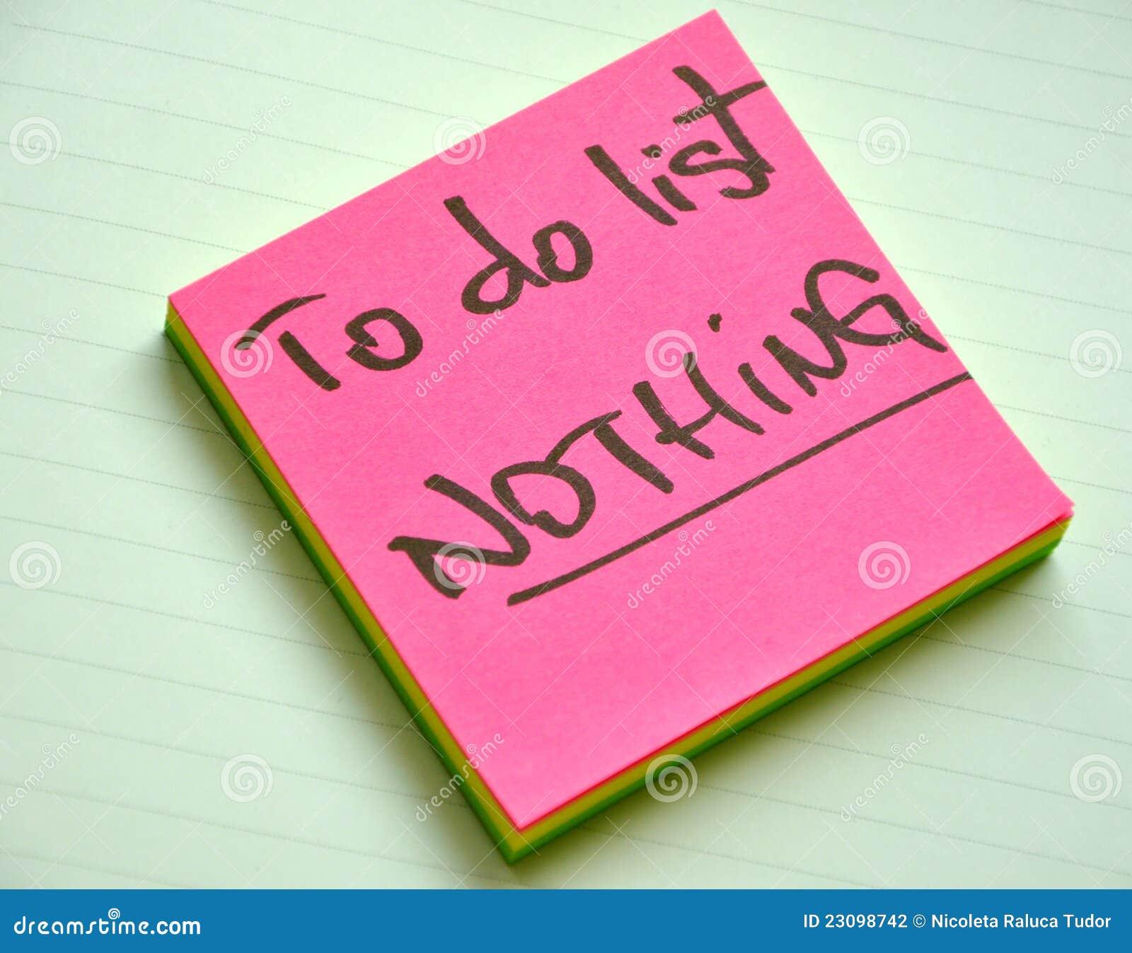 Zu Liste tun: nichts. Trägheitkonzept