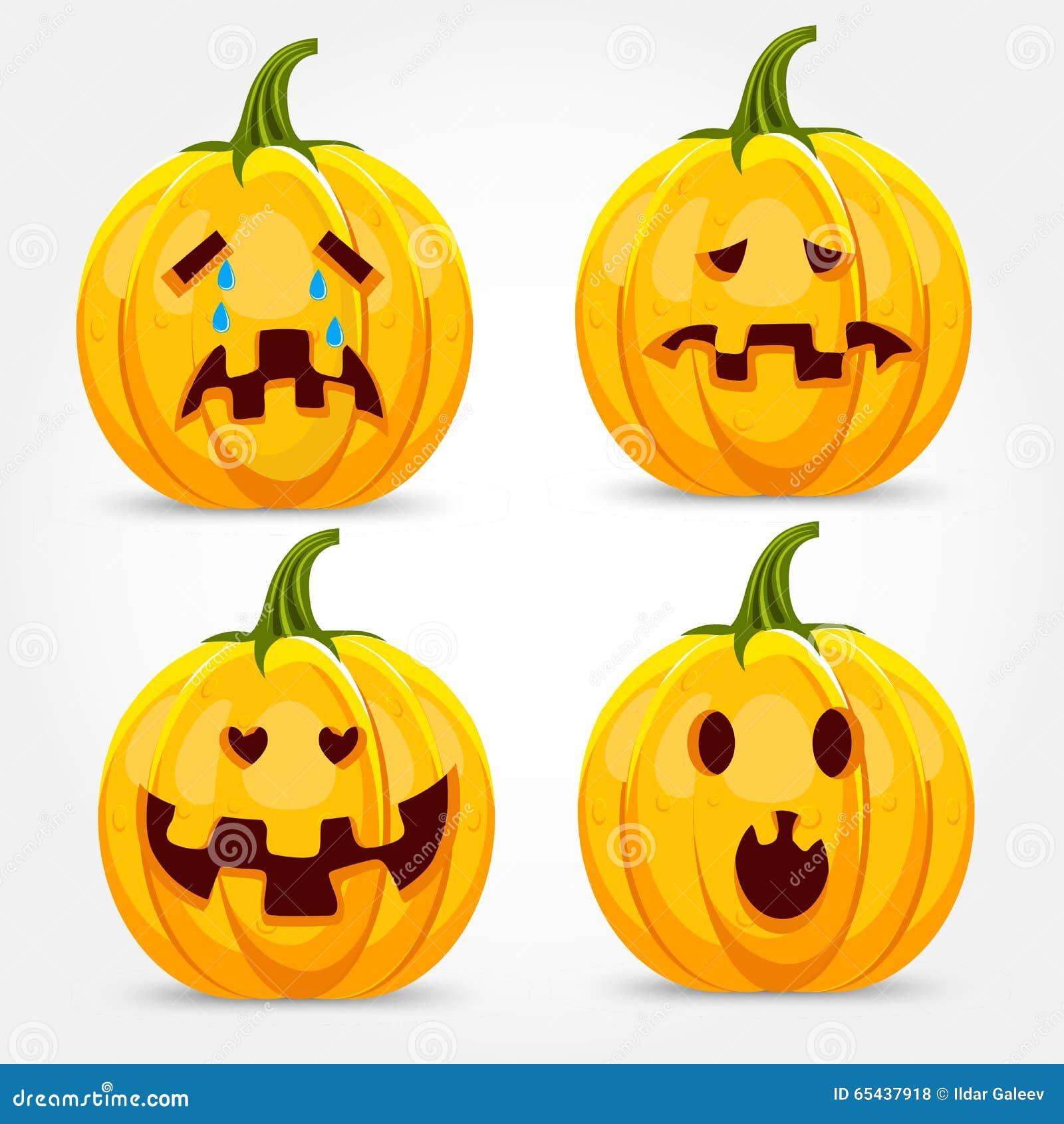Facce Zucche Di Halloween.Zucca Di Halloween Che Fa Le Espressioni Del Fronte Illustrazione Di