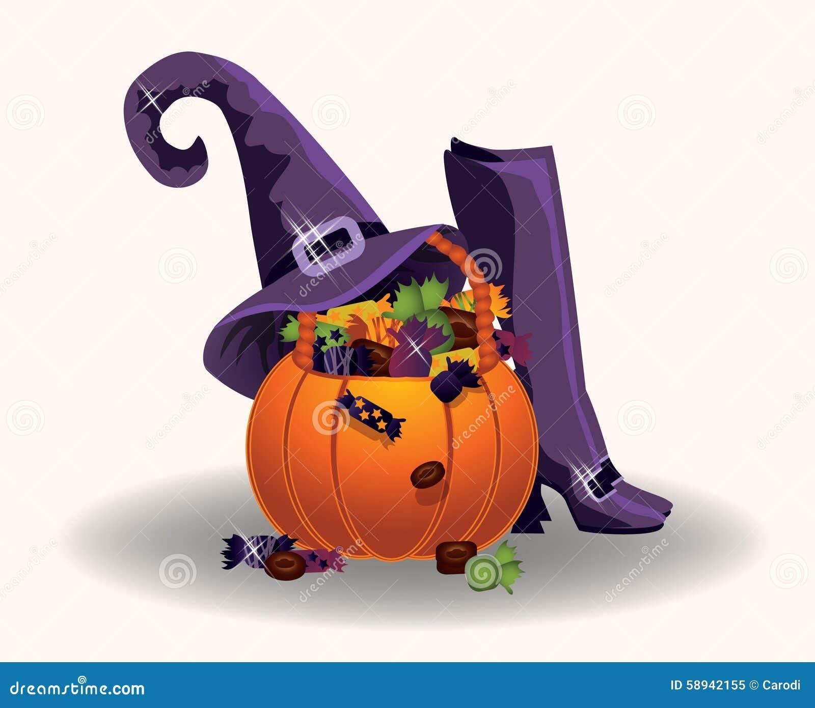 Zucca Di Halloween Con Il Cappello E Gli Stivali Della Strega ... f7ea8b7bf5a6