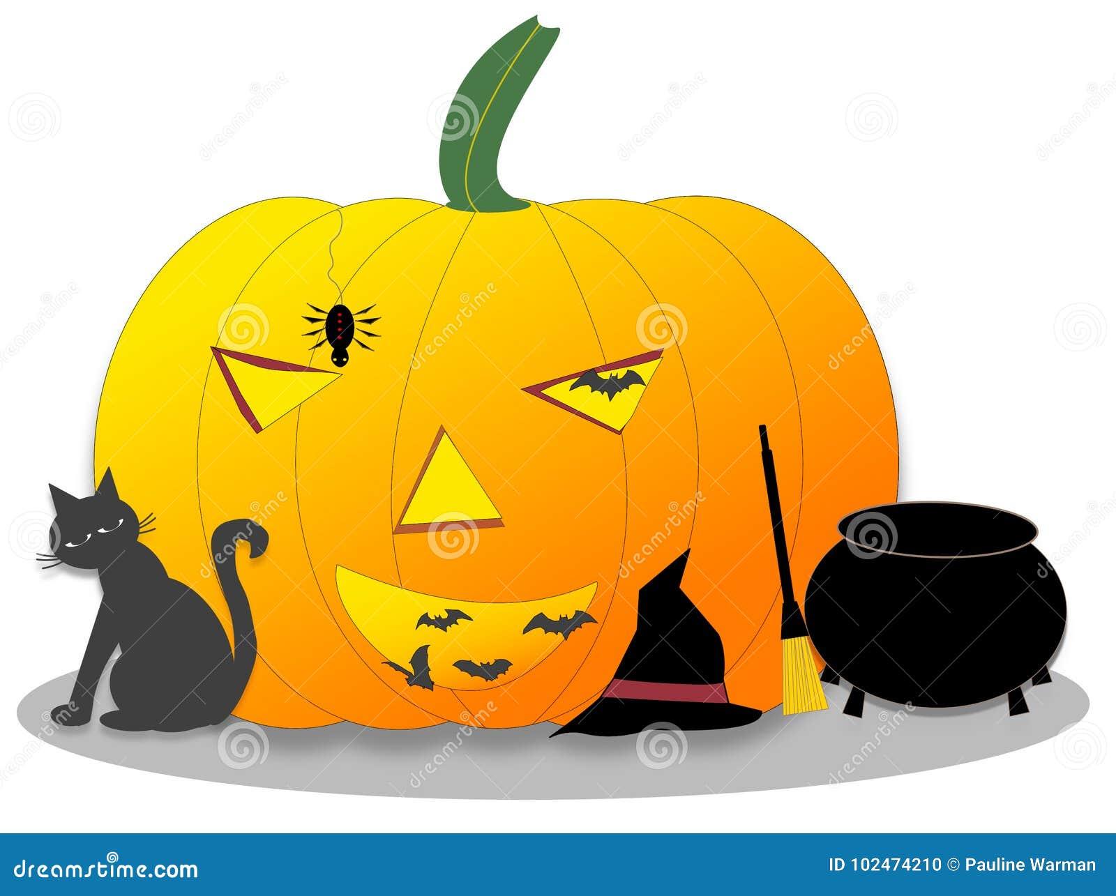 Zucca Halloween Gatto.Zucca Di Halloween Con Il Gatto Nero Pipistrelli Ragno Calderone