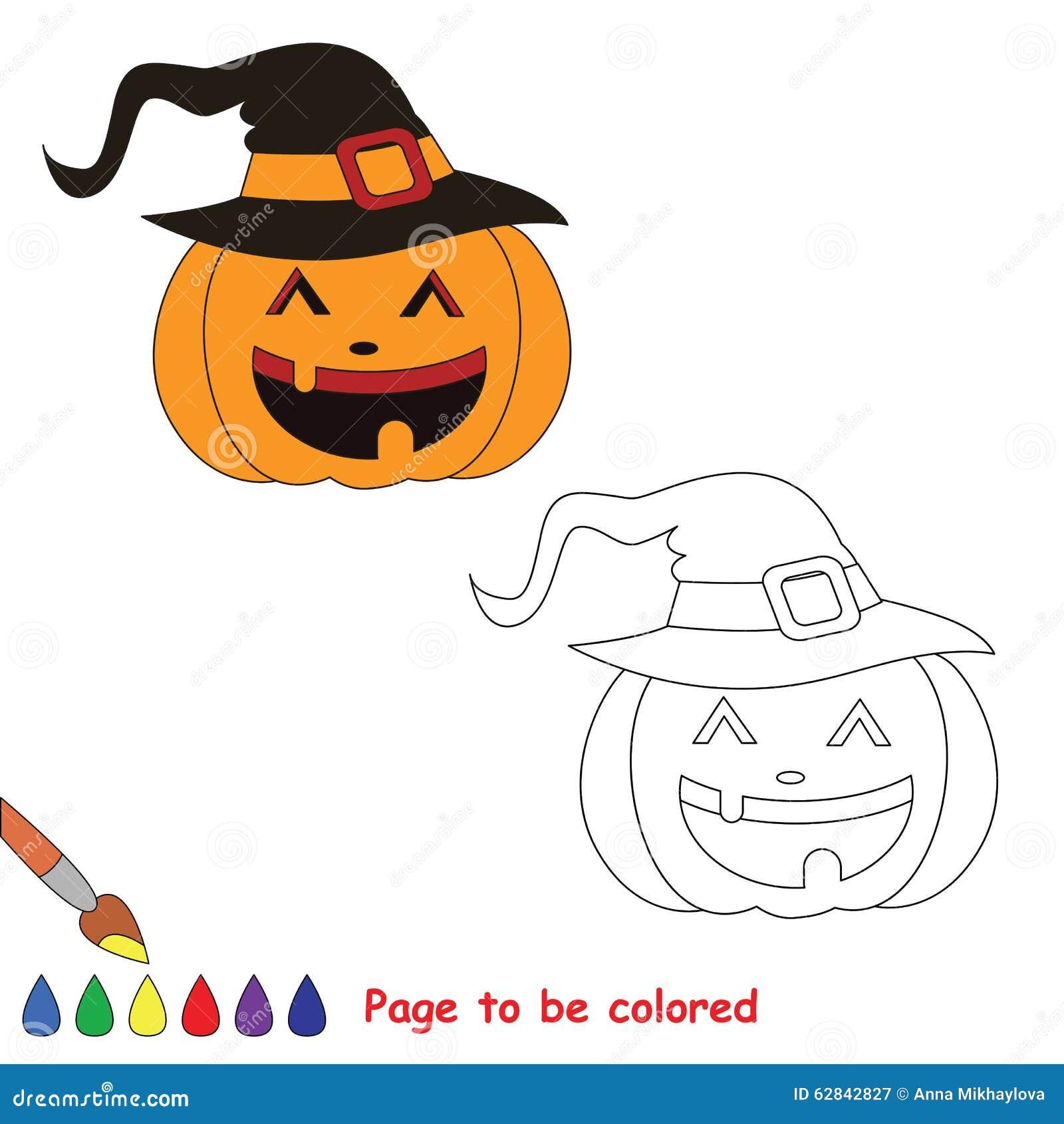 Zucca Di Halloween Del Fumetto Di Vettore Da Colorare Illustrazione