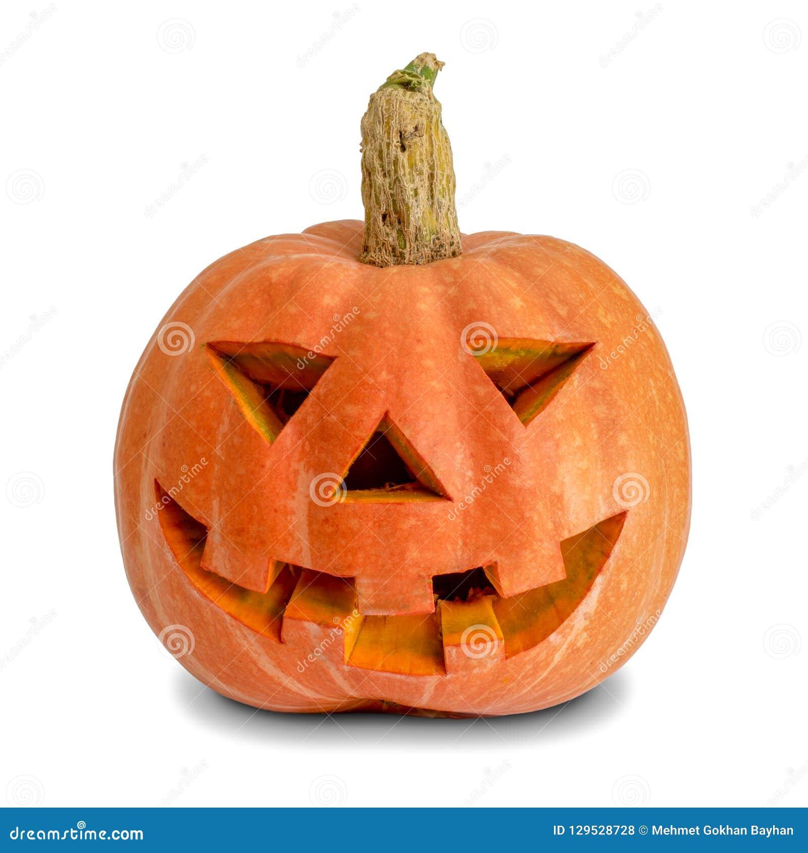 Zucca di Halloween su priorità bassa bianca Zucca scolpita della Jack-O-lanterna Decorazione a Halloween