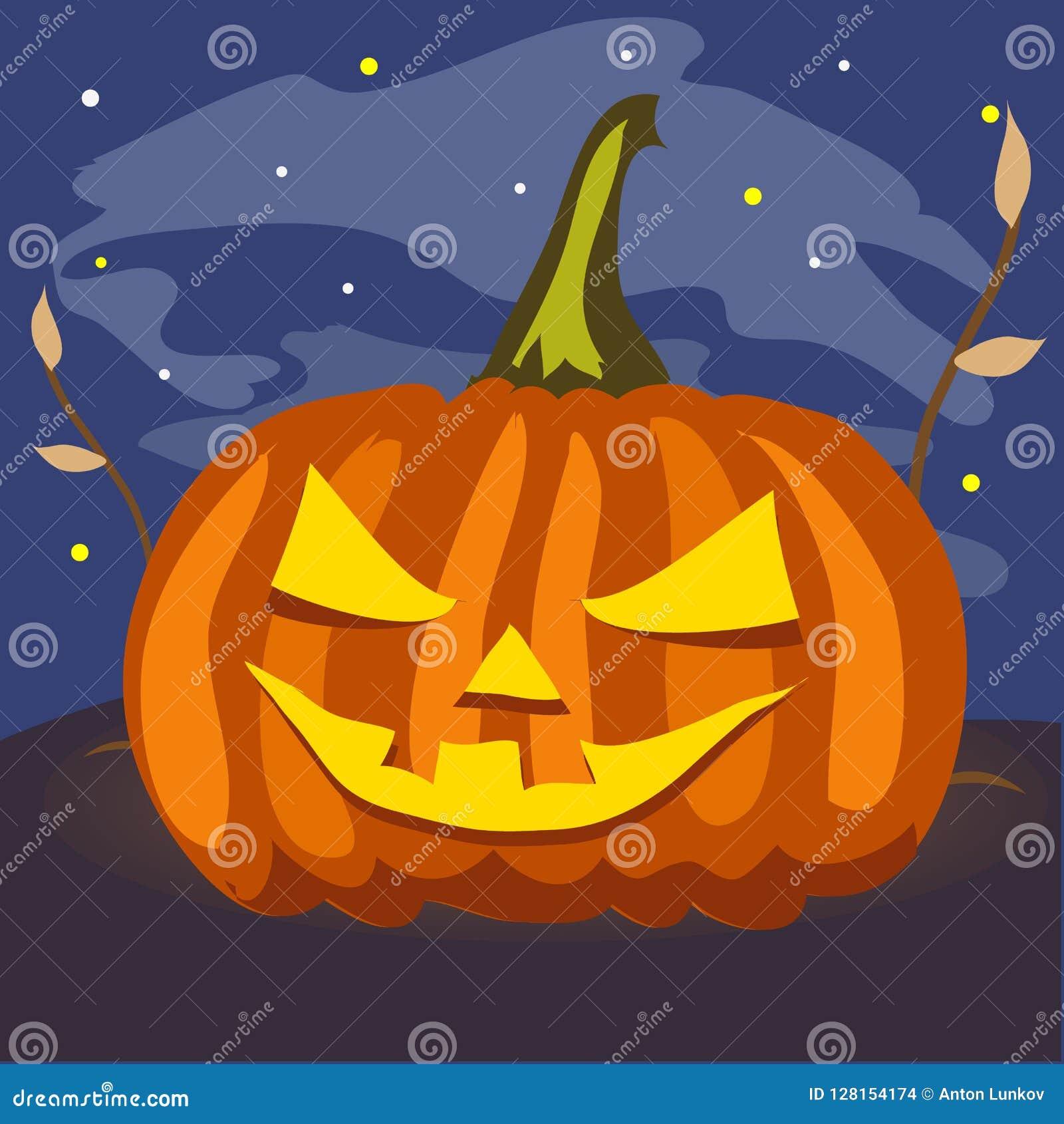 Zucca matura con gli occhi e la bocca scolpiti Attributo della festa di Halloween nella notte Manifesto sul tema di